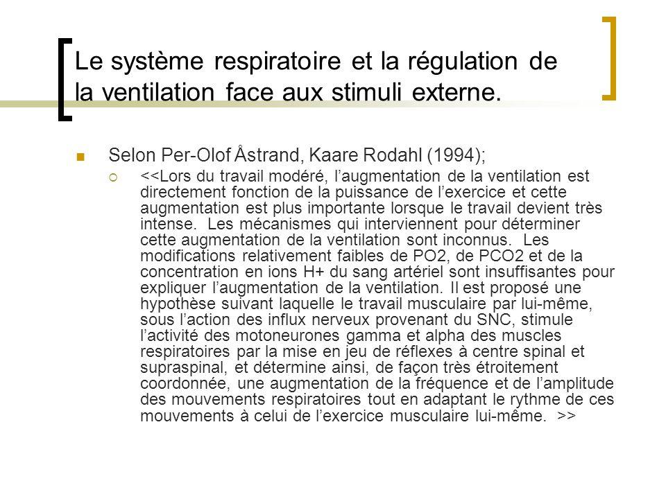 Le système respiratoire et la régulation de la ventilation face aux stimuli externe. Selon Per-Olof Åstrand, Kaare Rodahl (1994); >