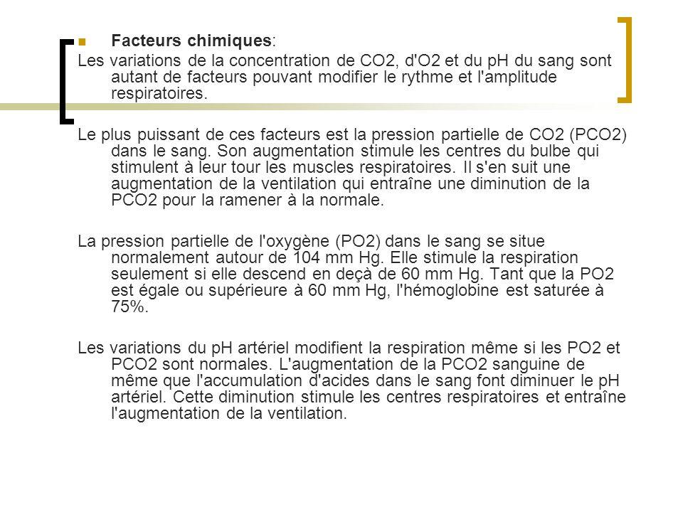 Facteurs chimiques: Les variations de la concentration de CO2, d O2 et du pH du sang sont autant de facteurs pouvant modifier le rythme et l amplitude respiratoires.