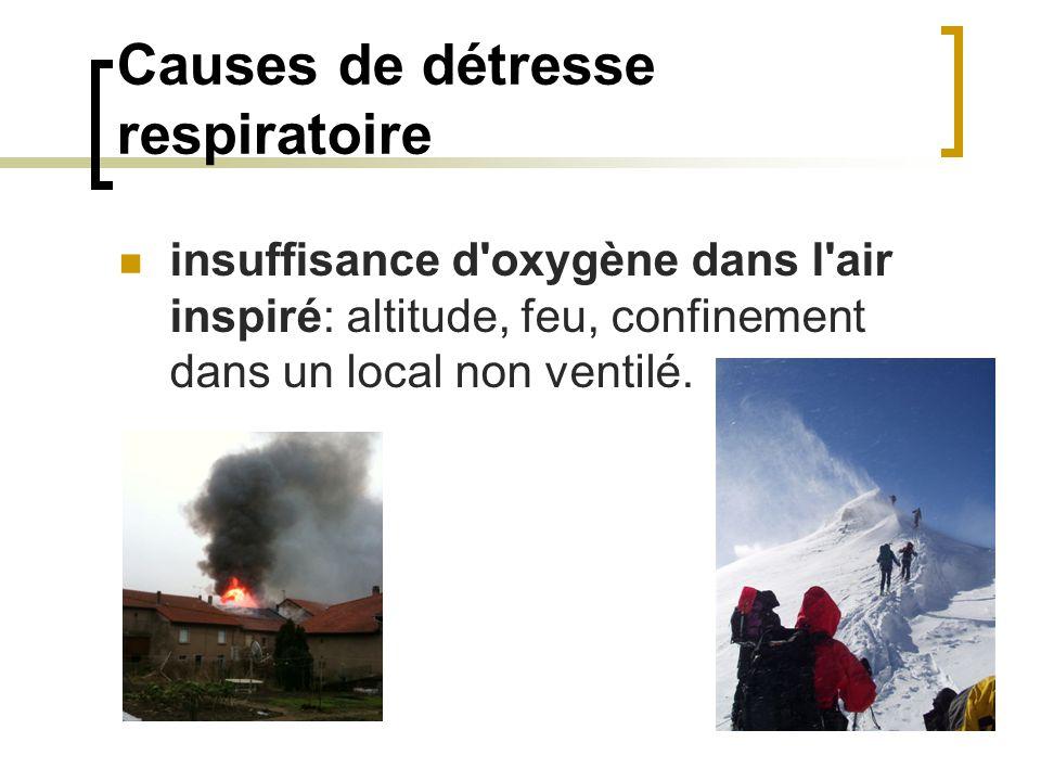 Causes de détresse respiratoire insuffisance d oxygène dans l air inspiré: altitude, feu, confinement dans un local non ventilé.