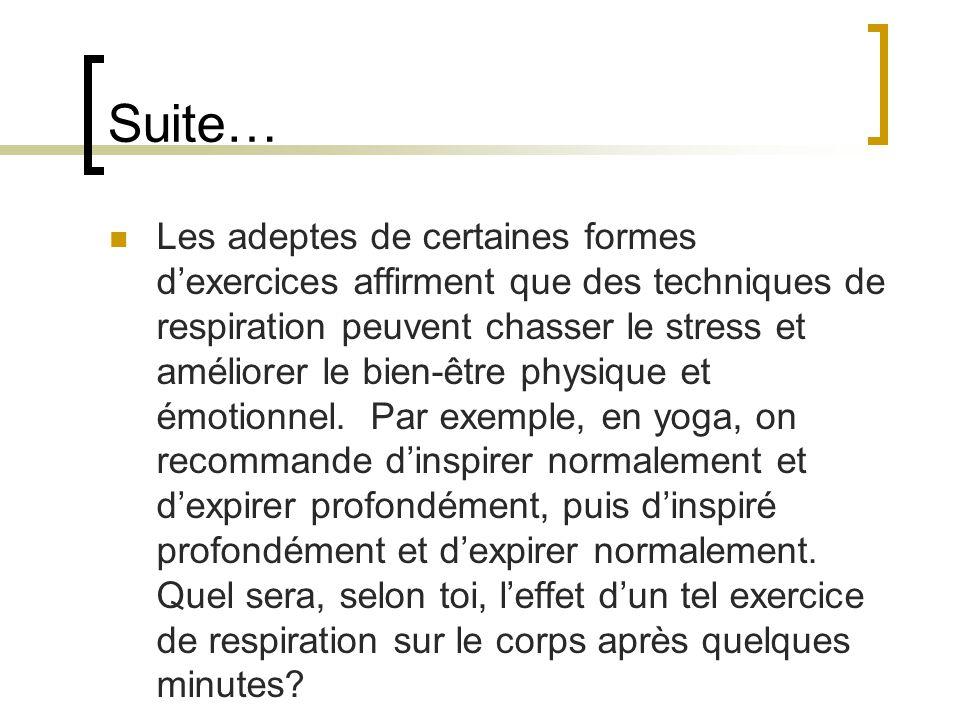 Suite… Les adeptes de certaines formes dexercices affirment que des techniques de respiration peuvent chasser le stress et améliorer le bien-être phys