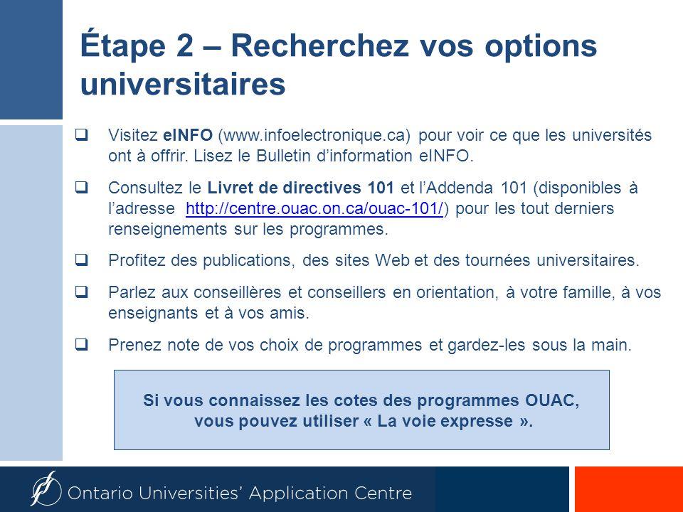 Si vous connaissez les cotes des programmes OUAC, vous pouvez utiliser « La voie expresse ».