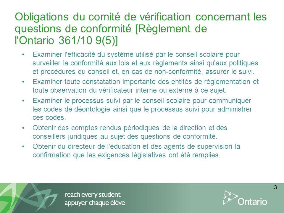 3 Obligations du comité de vérification concernant les questions de conformité [Règlement de l Ontario 361/10 9(5)] Examiner l efficacité du système utilisé par le conseil scolaire pour surveiller la conformité aux lois et aux règlements ainsi qu aux politiques et procédures du conseil et, en cas de non-conformité, assurer le suivi.