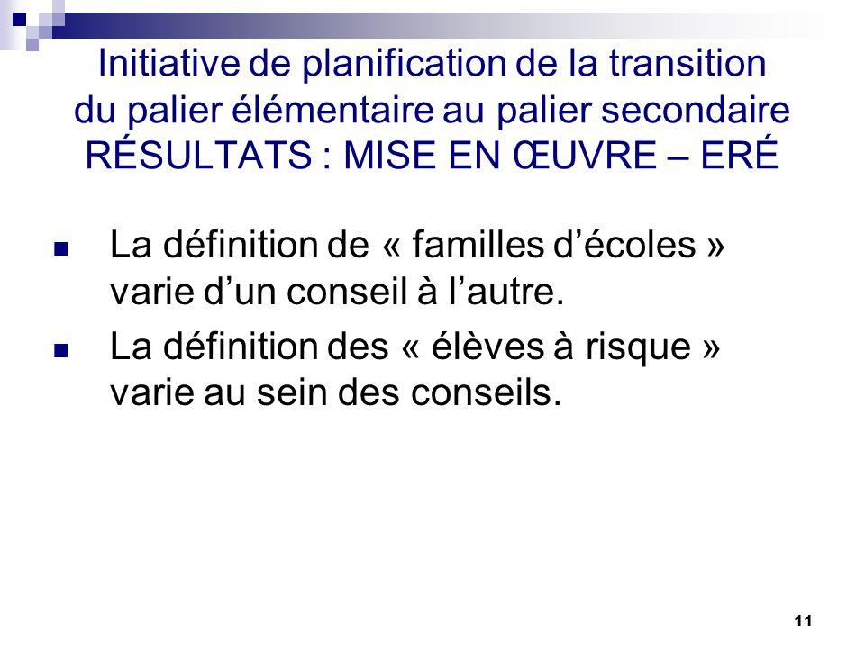 11 Initiative de planification de la transition du palier élémentaire au palier secondaire RÉSULTATS : MISE EN ŒUVRE – ERÉ La définition de « familles décoles » varie dun conseil à lautre.