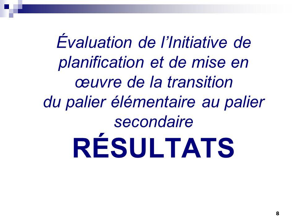 8 Évaluation de lInitiative de planification et de mise en œuvre de la transition du palier élémentaire au palier secondaire RÉSULTATS