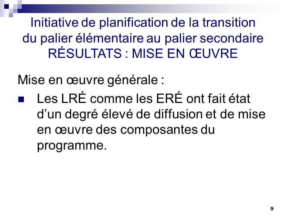 9 Mise en œuvre générale : Les LRÉ comme les ERÉ ont fait état dun degré élevé de diffusion et de mise en œuvre des composantes du programme.