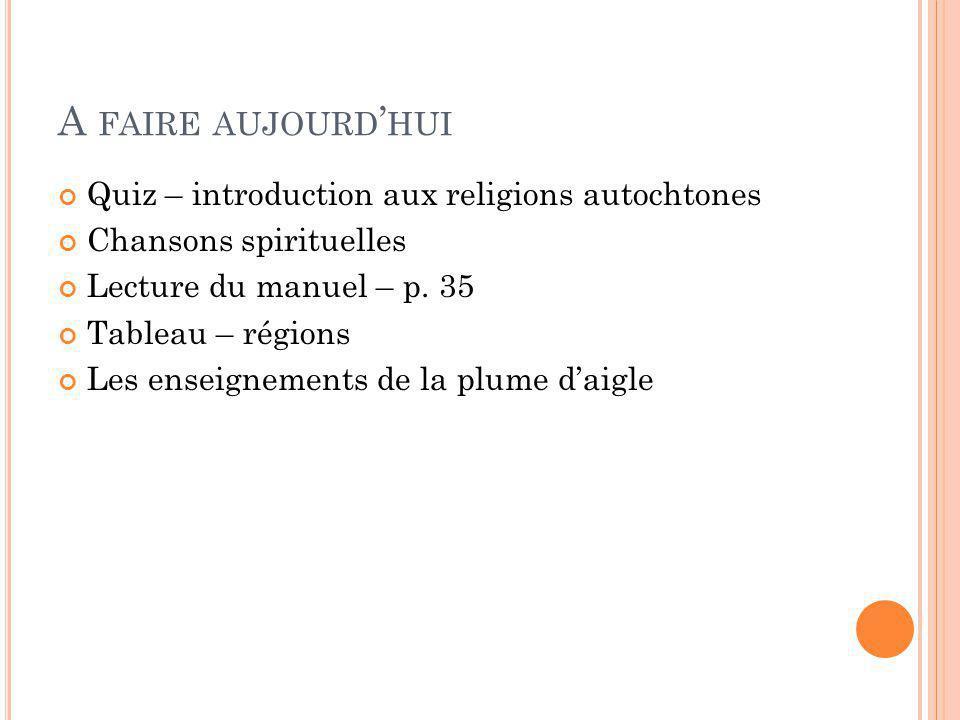 A FAIRE AUJOURD HUI Quiz – introduction aux religions autochtones Chansons spirituelles Lecture du manuel – p. 35 Tableau – régions Les enseignements