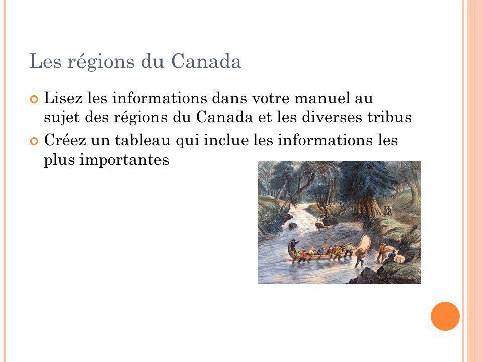 Les régions du Canada Lisez les informations dans votre manuel au sujet des régions du Canada et les diverses tribus Créez un tableau qui inclue les i