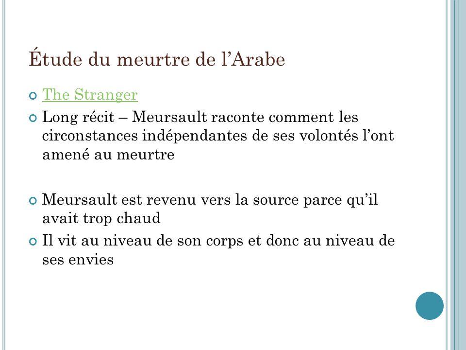 Étude du meurtre de lArabe The Stranger Long récit – Meursault raconte comment les circonstances indépendantes de ses volontés lont amené au meurtre M
