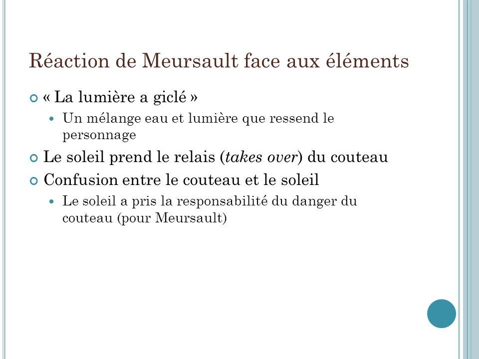 Réaction de Meursault face aux éléments « La lumière a giclé » Un mélange eau et lumière que ressend le personnage Le soleil prend le relais ( takes o
