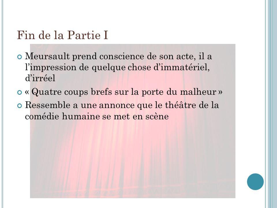 Fin de la Partie I Meursault prend conscience de son acte, il a limpression de quelque chose dimmatériel, dirréel « Quatre coups brefs sur la porte du