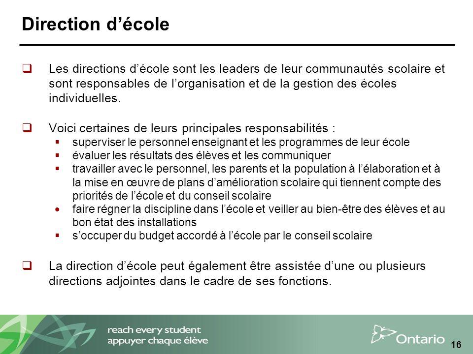 16 Direction décole Les directions décole sont les leaders de leur communautés scolaire et sont responsables de lorganisation et de la gestion des écoles individuelles.