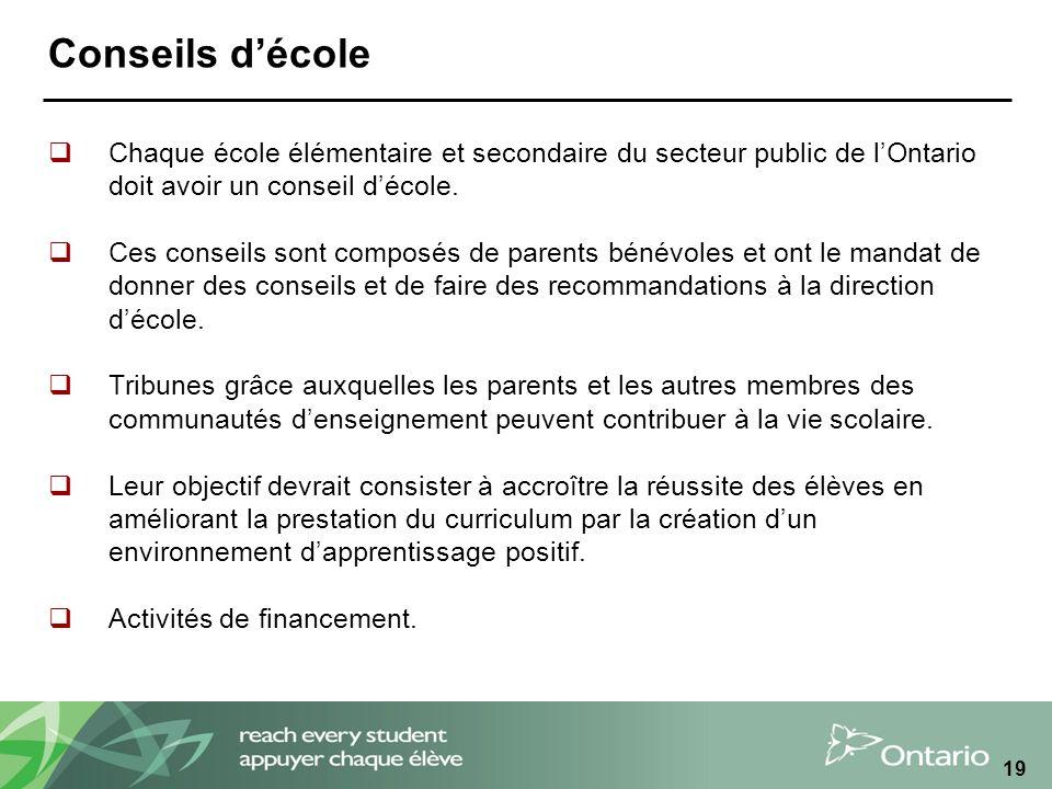 19 Conseils décole Chaque école élémentaire et secondaire du secteur public de lOntario doit avoir un conseil décole.