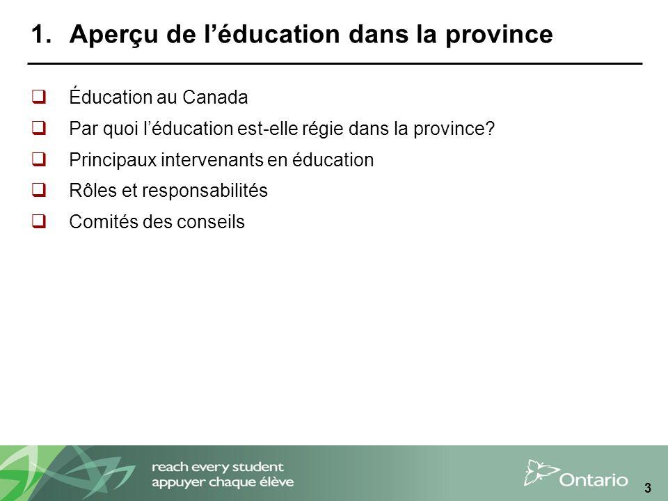 14 Direction de léducation La direction de léducation agit à titre de directeur général et dagent déducation en chef du conseil scolaire et à titre de secrétaire-trésorier du Conseil.