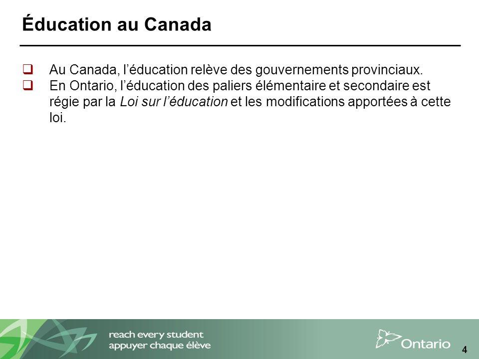 4 Éducation au Canada Au Canada, léducation relève des gouvernements provinciaux.