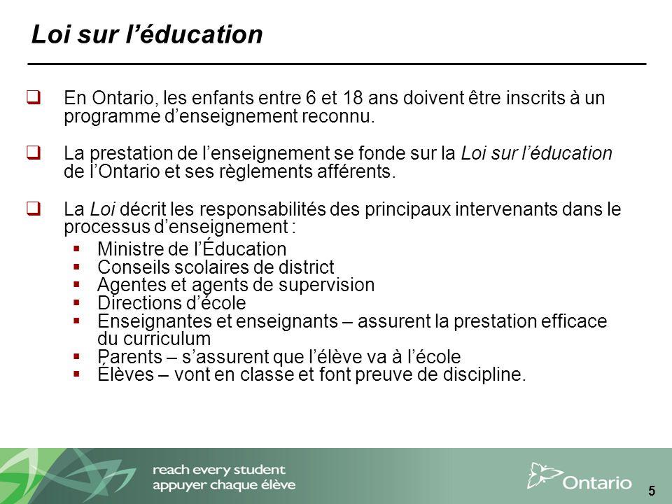 5 Loi sur léducation En Ontario, les enfants entre 6 et 18 ans doivent être inscrits à un programme denseignement reconnu.