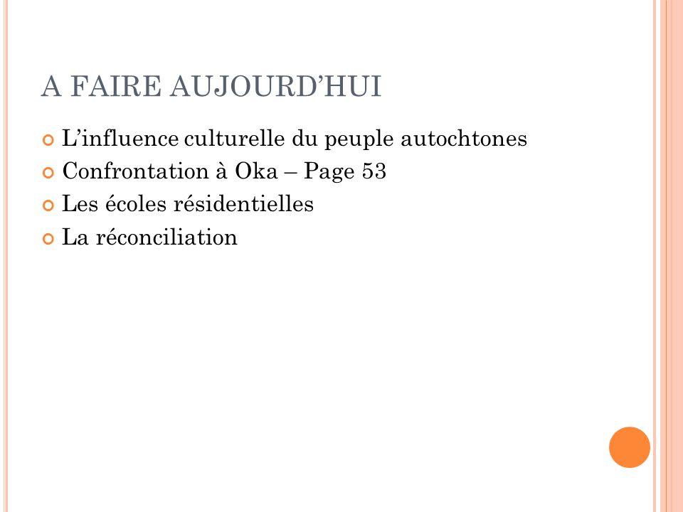 A FAIRE AUJOURDHUI Linfluence culturelle du peuple autochtones Confrontation à Oka – Page 53 Les écoles résidentielles La réconciliation