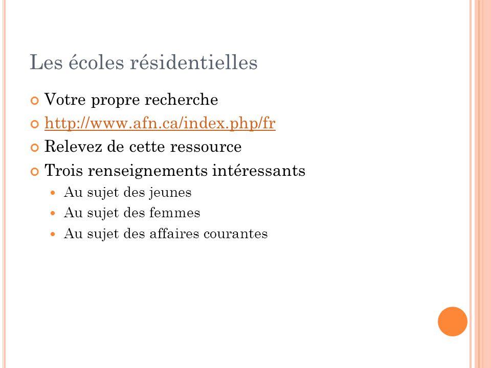 Les écoles résidentielles Votre propre recherche http://www.afn.ca/index.php/fr Relevez de cette ressource Trois renseignements intéressants Au sujet des jeunes Au sujet des femmes Au sujet des affaires courantes