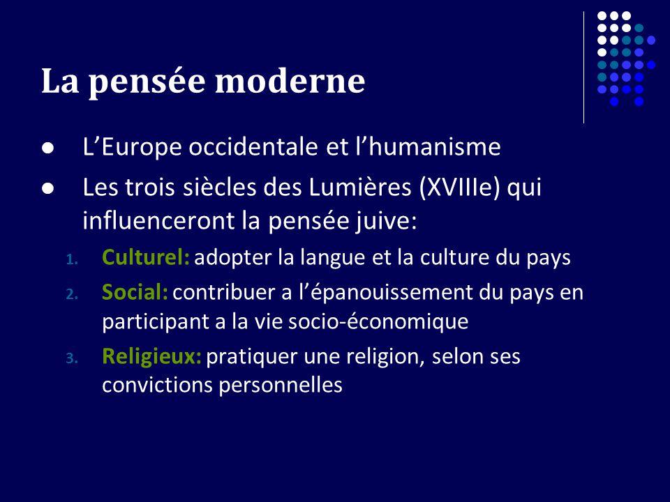 La pensée moderne LEurope occidentale et lhumanisme Les trois siècles des Lumières (XVIIIe) qui influenceront la pensée juive: 1.