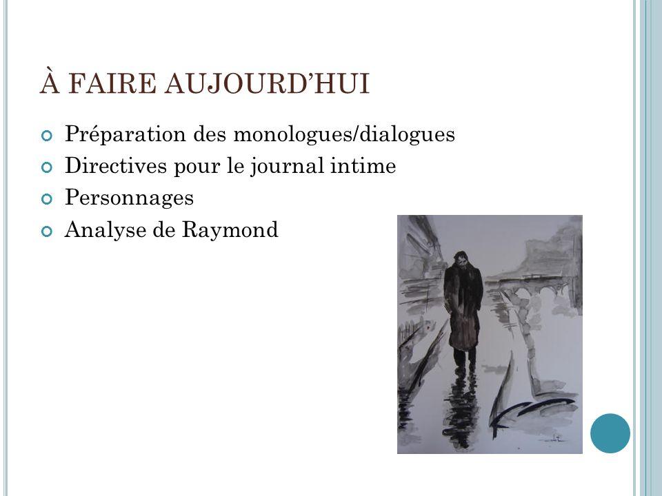 À FAIRE AUJOURDHUI Préparation des monologues/dialogues Directives pour le journal intime Personnages Analyse de Raymond