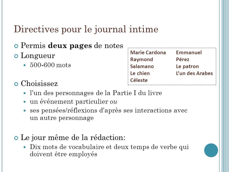 Directives pour le journal intime Permis deux pages de notes Longueur 500-600 mots Choisissez lun des personnages de la Partie I du livre un événement