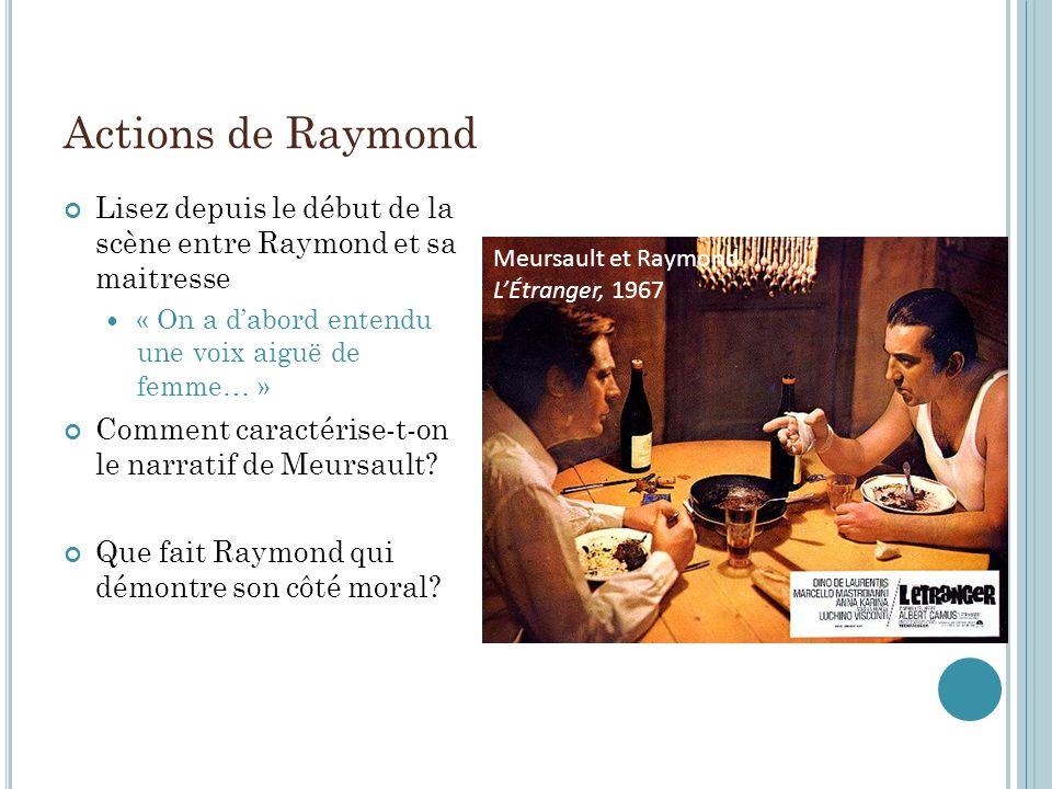 Actions de Raymond Lisez depuis le début de la scène entre Raymond et sa maitresse « On a dabord entendu une voix aiguë de femme… » Comment caractéris