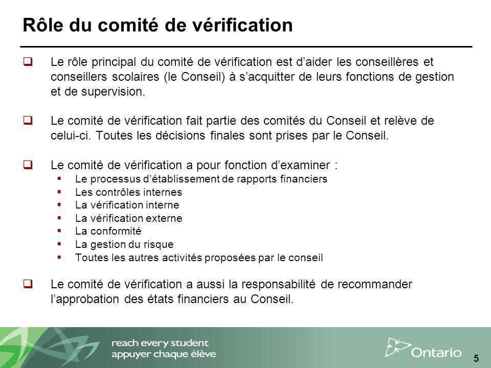 5 Rôle du comité de vérification Le rôle principal du comité de vérification est daider les conseillères et conseillers scolaires (le Conseil) à sacqu