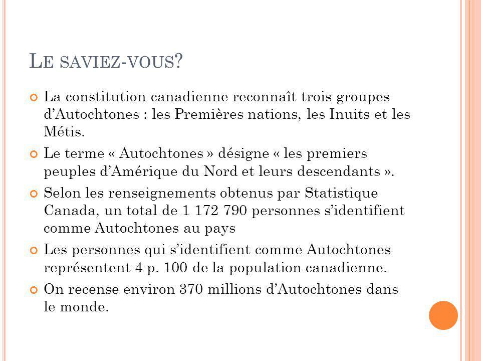 L E SAVIEZ - VOUS ? La constitution canadienne reconnaît trois groupes dAutochtones : les Premières nations, les Inuits et les Métis. Le terme « Autoc