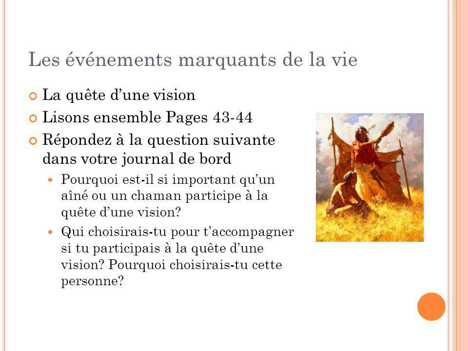 Les événements marquants de la vie La quête dune vision Lisons ensemble Pages 43-44 Répondez à la question suivante dans votre journal de bord Pourquo