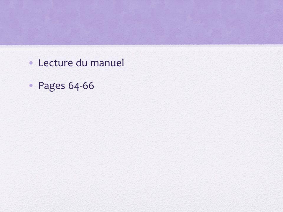 Lecture du manuel Pages 64-66