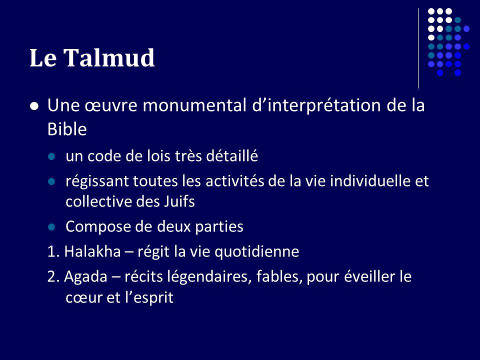 Le Talmud Une œuvre monumental dinterprétation de la Bible un code de lois très détaillé régissant toutes les activités de la vie individuelle et coll
