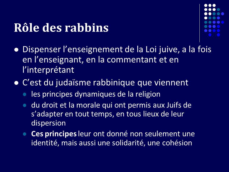 Rôle des rabbins Dispenser lenseignement de la Loi juive, a la fois en lenseignant, en la commentant et en linterprétant Cest du judaïsme rabbinique q