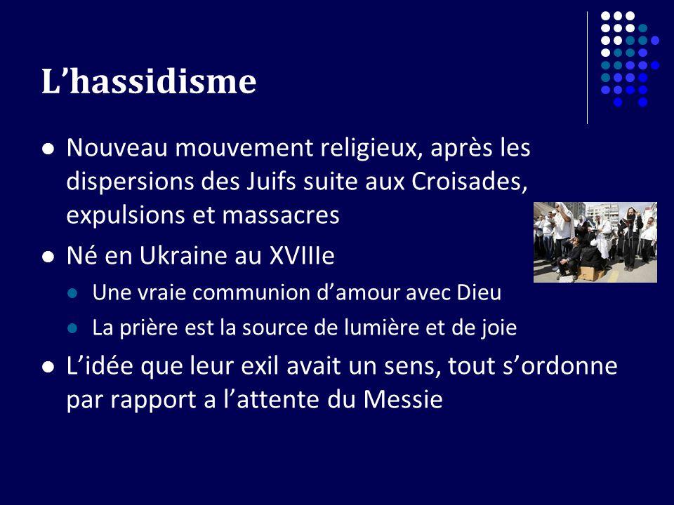 Lhassidisme Nouveau mouvement religieux, après les dispersions des Juifs suite aux Croisades, expulsions et massacres Né en Ukraine au XVIIIe Une vrai