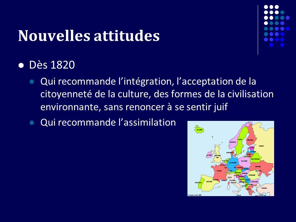 Nouvelles attitudes Dès 1820 Qui recommande lintégration, lacceptation de la citoyenneté de la culture, des formes de la civilisation environnante, sa
