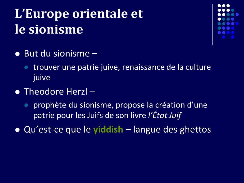 LEurope orientale et le sionisme But du sionisme – trouver une patrie juive, renaissance de la culture juive Theodore Herzl – prophète du sionisme, pr