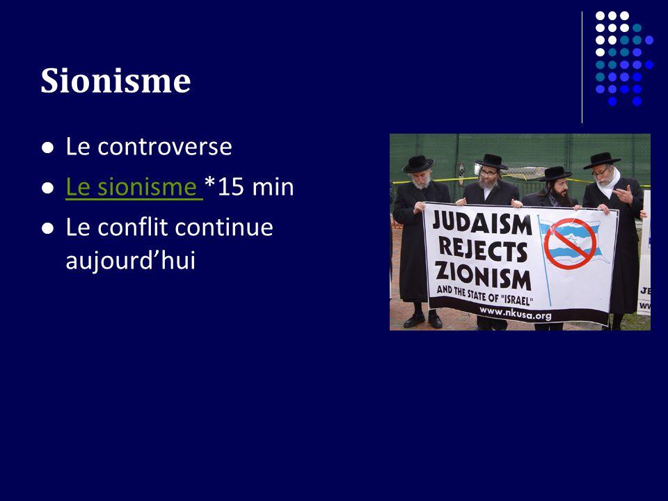 Sionisme Le controverse Le sionisme *15 min Le sionisme Le conflit continue aujourdhui