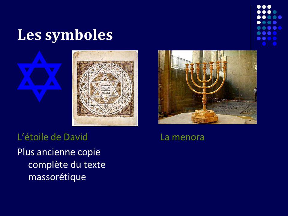 Les symboles Létoile de David Plus ancienne copie complète du texte massorétique La menora