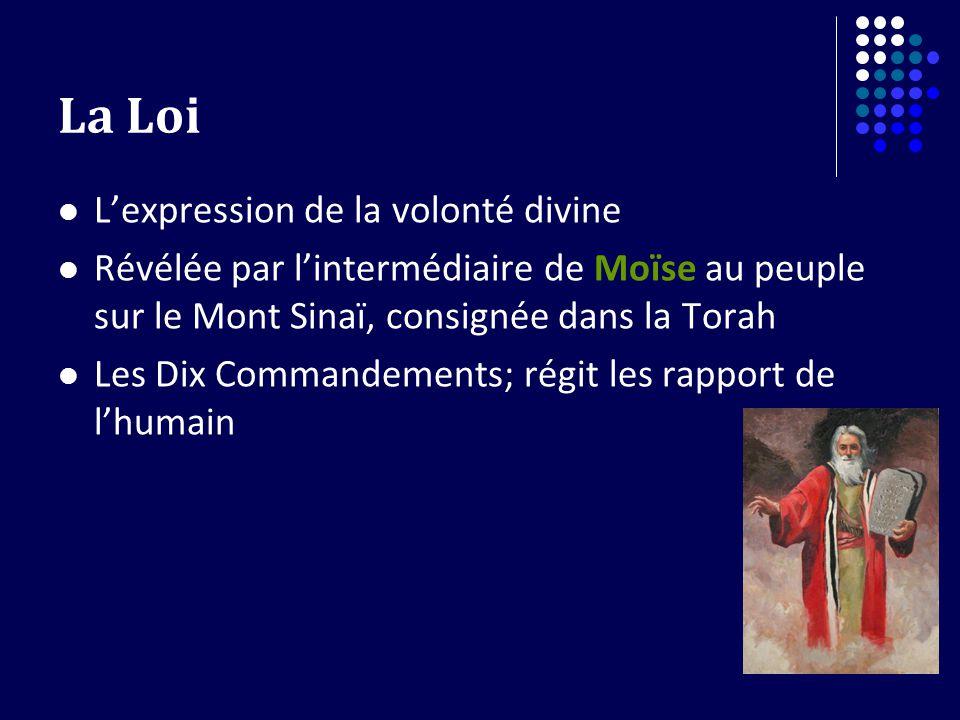 La Loi Lexpression de la volonté divine Révélée par lintermédiaire de Moïse au peuple sur le Mont Sinaï, consignée dans la Torah Les Dix Commandements; régit les rapport de lhumain