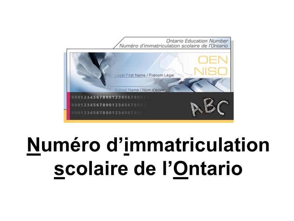 Numéro dimmatriculation scolaire de lOntario