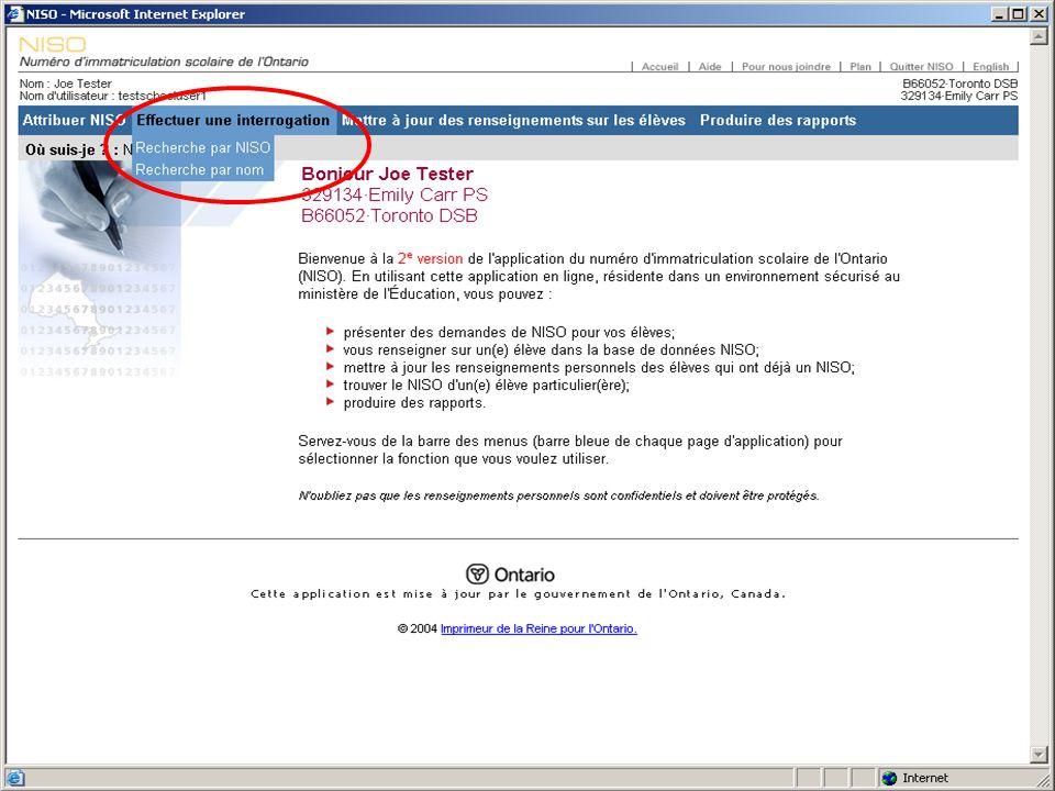 Attribution des NISO Ne pas oublier : Les renseignements doivent être entrés exactement.