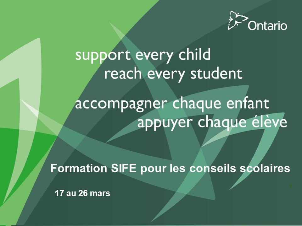 Formation SIFE pour les conseils scolaires 17 au 26 mars 1