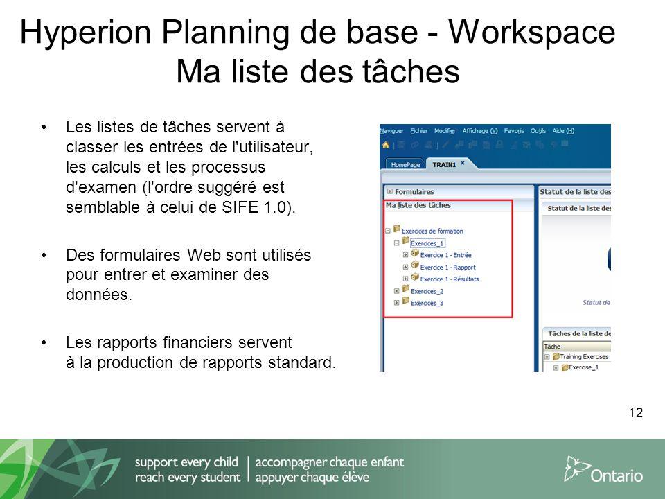 Hyperion Planning de base - Workspace Ma liste des tâches Les listes de tâches servent à classer les entrées de l'utilisateur, les calculs et les proc