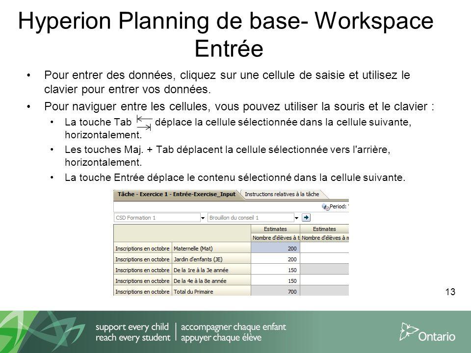 Hyperion Planning de base- Workspace Entrée Pour entrer des données, cliquez sur une cellule de saisie et utilisez le clavier pour entrer vos données.