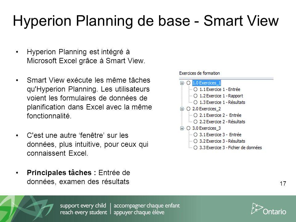 Hyperion Planning de base - Smart View Hyperion Planning est intégré à Microsoft Excel grâce à Smart View. Smart View exécute les même tâches qu'Hyper