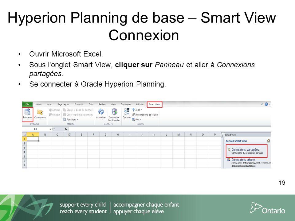Hyperion Planning de base – Smart View Connexion Ouvrir Microsoft Excel. Sous l'onglet Smart View, cliquer sur Panneau et aller à Connexions partagées
