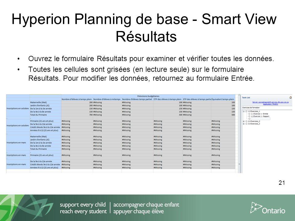 Hyperion Planning de base - Smart View Résultats Ouvrez le formulaire Résultats pour examiner et vérifier toutes les données. Toutes les cellules sont