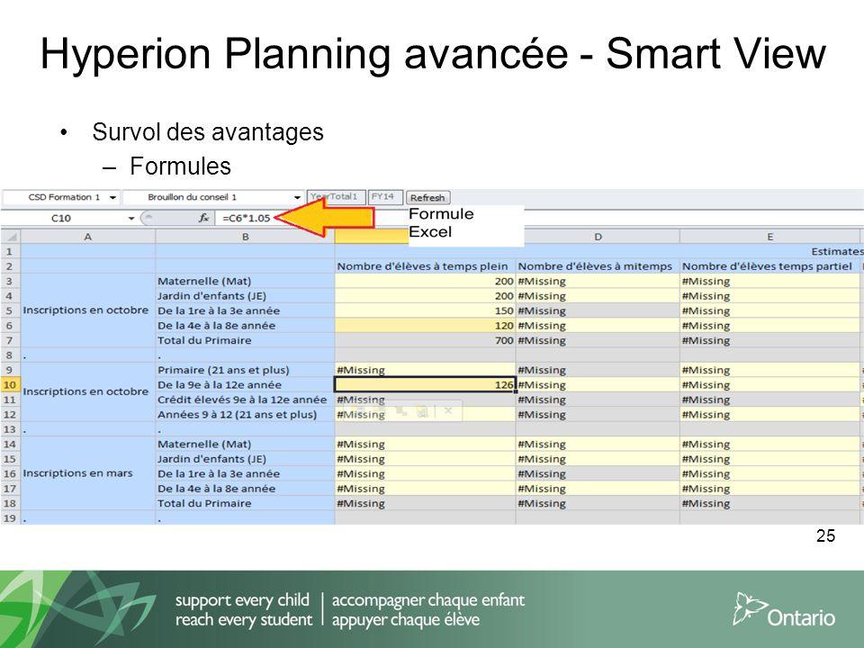 Hyperion Planning avancée - Smart View Survol des avantages –Formules 25