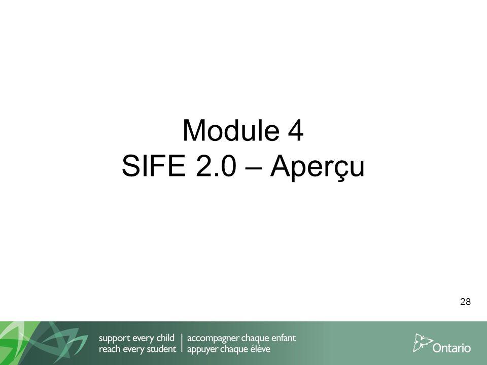 Module 4 SIFE 2.0 – Aperçu 28