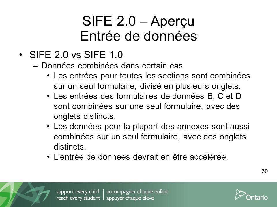 SIFE 2.0 – Aperçu Entrée de données SIFE 2.0 vs SIFE 1.0 –Données combinées dans certain cas Les entrées pour toutes les sections sont combinées sur u