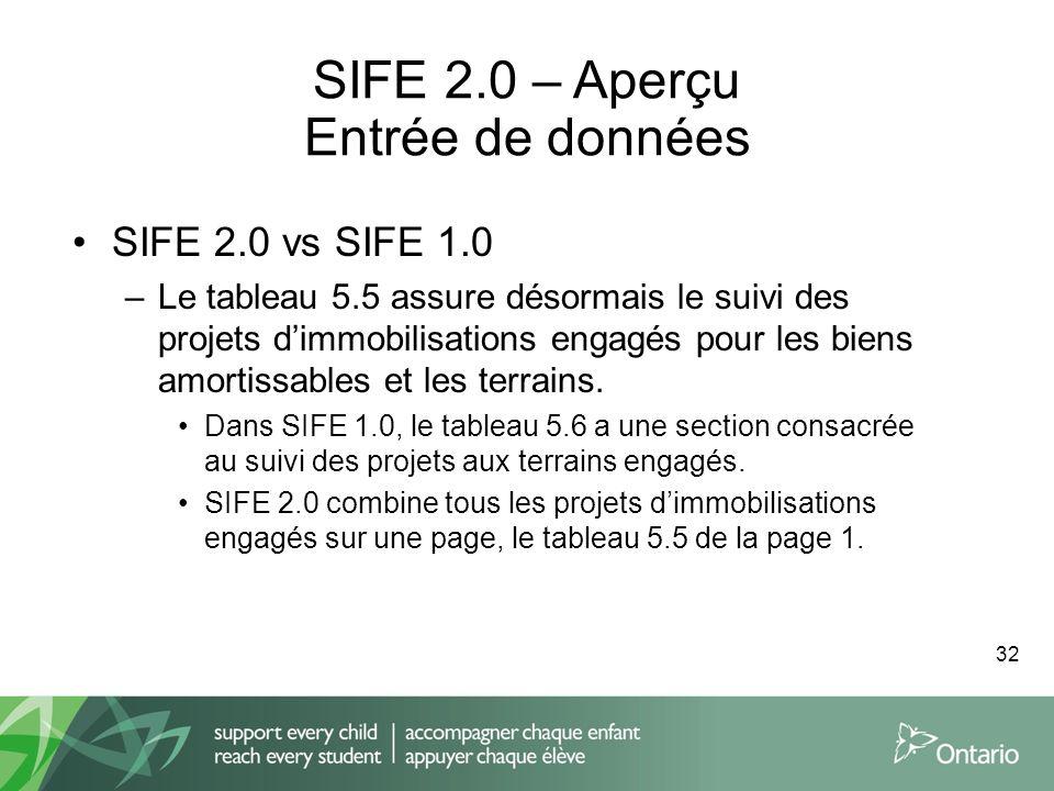 SIFE 2.0 – Aperçu Entrée de données SIFE 2.0 vs SIFE 1.0 –Le tableau 5.5 assure désormais le suivi des projets dimmobilisations engagés pour les biens