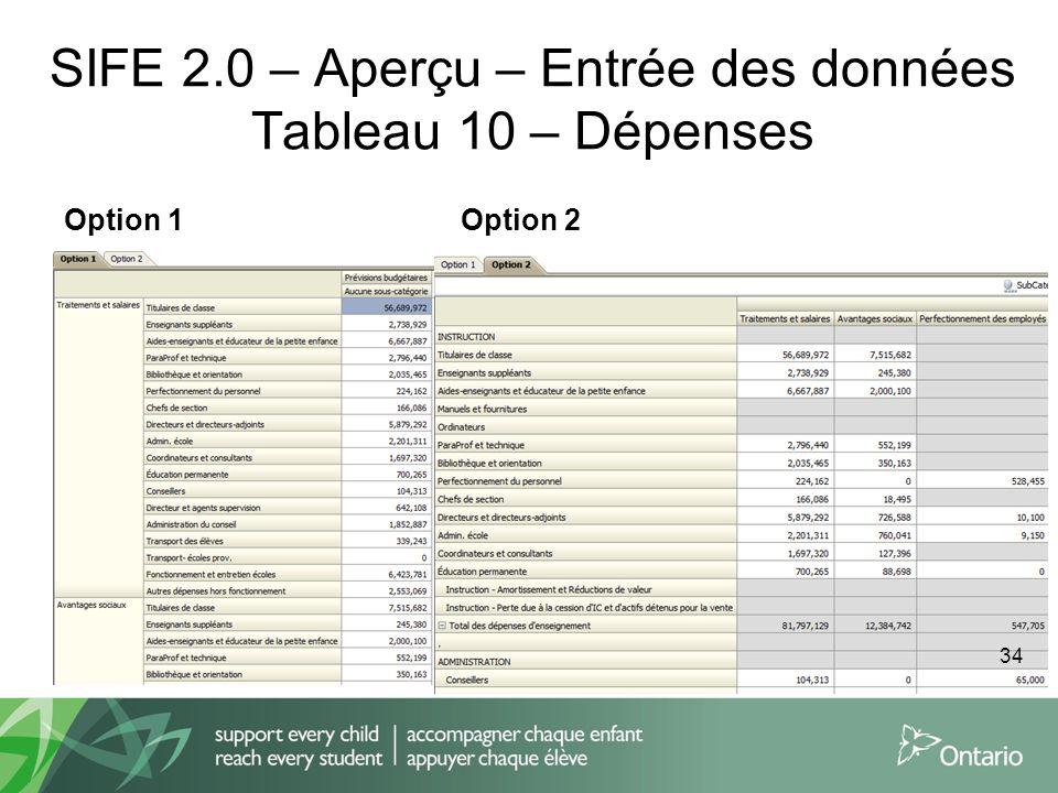 SIFE 2.0 – Aperçu – Entrée des données Tableau 10 – Dépenses Option 1Option 2 34